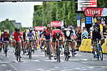 Dylan Groenewegen (NED) Lotto NL-Jumbo outsprints Andre Greipel (GER) Lotto-Soudal to win Stage 21 of the 104th edition of the Tour de France 2017, an individual time trial running 1.3km from Montgeron to Paris Champs-Elysees, France. 23rd July 2017.<br /> Picture: ASO/Thomas Maheux | Cyclefile<br /> <br /> <br /> All photos usage must carry mandatory copyright credit (&copy; Cyclefile | ASO/Thomas Maheux)