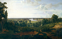 BNPS.co.uk (01202 558833)<br /> Pic: VictoriaFoundation/BNPS<br /> <br /> Thomas Hofland - A View from Richmond Hill - 1820.<br /> <br /> The only view in England which is considered so beautiful it is protected by an Act of Parliament has been captured by various artists in a new book.<br /> <br /> The view from Richmond Hill in London would normally have been buried under urban sprawl as the capital has grown over the last hundred years, but thanks to the enlightened Act of 1902 this idyllic oasis still survives<br /> <br /> Under the Richmond, Ham and Petersham Open Spaces Act (1902), no construction was allowed which would impinge on the picturesque view from Richmond Hill in south-west London made famous by artist's such as JMW Turner in the previous century.<br /> <br /> Prominent in the panorama - perched on top of Richmond Hill - is the Grade II listed Star and Garter Building which until recently housed injured ex-servicemen but has now been converted into 84 apartments.<br /> <br /> Seventeen artists were commissioned for the project - which also included an exhibition - and they have created idyllic snapshots of the Star and Garter Building, Richmond Park and the river Thames from different vantage points.