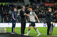 31st January 2020; Pride Park, Derby, East Midlands; English Championship Football, Derby County versus Stoke City; Derby County Manager Phillip Cocu shakes hands with Chris Martin of Derby County as he walks off during his substitution