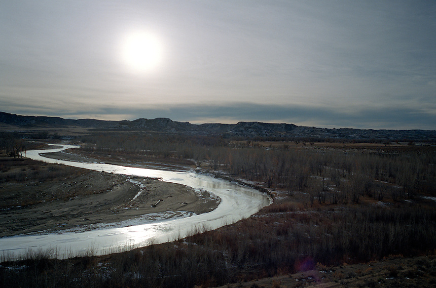 The sun rises over the Poweder River near Gillette, Wyo., epicenter of a boom in natural gas extraction in the American west.