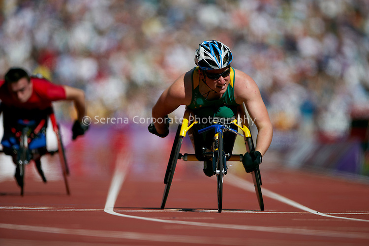 Richard Colman (AUS) wins his heat of the men's T53 200m at the London Paralympic Games - Athletics 7.9.12