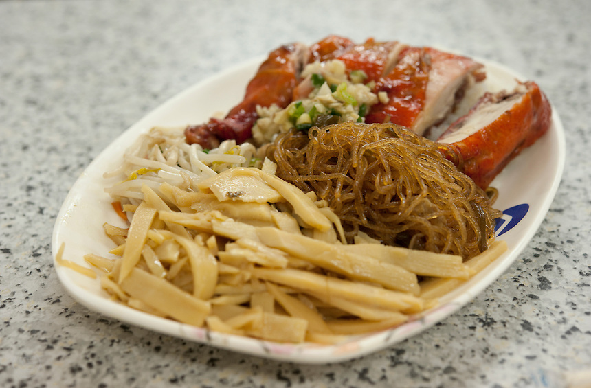 Barbequed chicken with noodles and bamboo shoots in a Taiwanese cafe in Taipei.