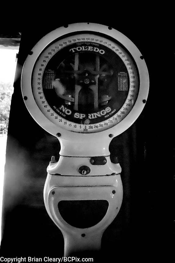 Vintage Toledo Scale in the small machine shop, , Koreshan State Park, Koreshan Unity Settlement Historic site, Estero, FL  July 2018. Shot with a Canon EOS 650 35mm SLR camera on Kodak T-Max 400 film. (Photo by Brian Cleary/ www.bcpix.com )