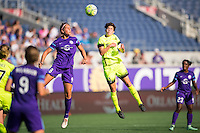 Orlando, Florida - Sunday, May 8, 2016: Orlando Pride forward Sarah Hagen (8) and Seattle Reign FC midfielder Keelin Winters (11) challenge for an air ball .during a National Women's Soccer League match between Orlando Pride and Seattle Reign FC at Camping World Stadium.