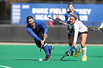 DURHAM, NC - NOVEMBER 11: Duke's Jillian Wolgemuth (left) and Miami's Lexie Nugget (right). The Duke University Blue Devils hosted the Miami University (Ohio) Redhawks on November 11, 2017 at Jack Katz Stadium in Durham, NC in an NCAA Division I Field Hockey Tournament First Round game. Duke won the game 4-2.