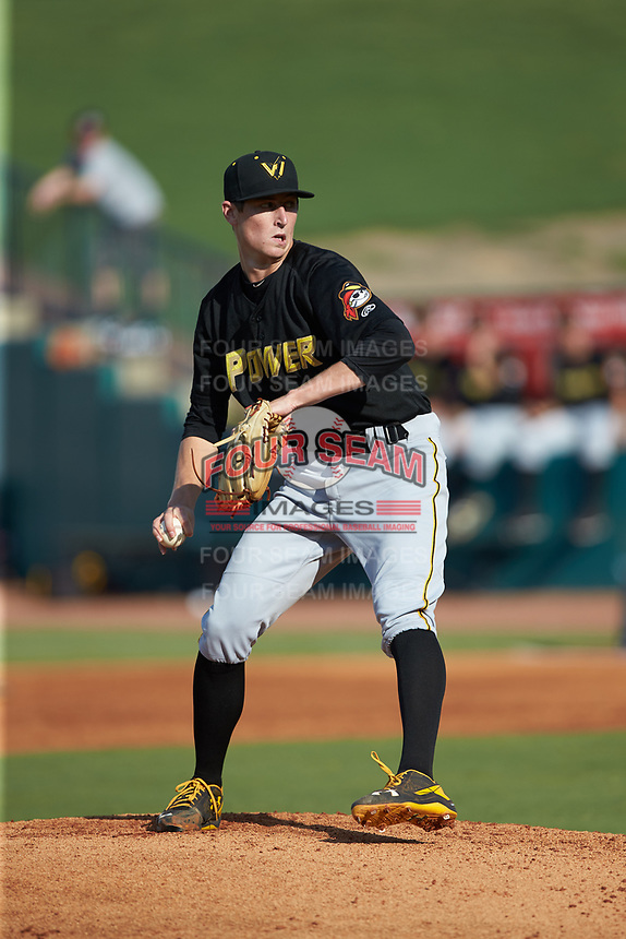 West Virginia Power starting pitcher Travis MacGregor (15) in action against the Greensboro Grasshoppers at First National Bank Field on August 9, 2018 in Greensboro, North Carolina. The Power defeated the Grasshoppers 5-3 in game one of a double-header. (Brian Westerholt/Four Seam Images)