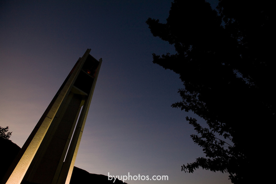 0809-03 034.CR2..0809-02 First Day of Class..First Day of the Fall 2008 Semester on Campus, GCS GCI..Sunrise Bell Tower..September 2, 2008..Photo by Jaren Wilkey/BYU..© BYU PHOTO 2008.All Rights Reserved.photo@byu.edu  (801)422-7322