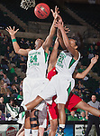 North Texas Mean Green forward Jasmine Godbolt (24) and North Texas Mean Green forward Ash'Lynne Evans (1) in action during the game between the Louisiana Lafayette Ragin' Cajuns and the University of North Texas Mean Green at the North Texas Coliseum,the Super Pit, in Denton, Texas. UNT defeats Louisiana Lafayette 78 to 40....