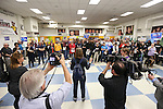 Caucus attendees listen to instructions at the Democratic Caucus at Libby Booth Elementary School, in Reno, Nev. on Saturday, Feb. 20, 2016. Cathleen Allison/Las Vegas Review-Journal