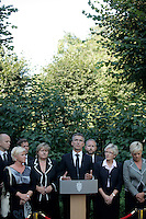 (Oslo July 27, 2011) Prime minister Jens Stoltenberg announces an independent inquiry into Friday's deadly attacks by Anders Behring Breivik, amid questions about the police response. <br /> The PM is flanked by the leaders of all parties incl. opposition Siv Jensen (Progress Party) and Erna Solberg (Conservative Party) - on the left side of the PM.<br /> <br /> A large vehicle bomb was detonated near the offices of Norwegian Prime Minister Jens Stoltenberg on 22 July 2011. .Another terrorist attack took place shortly afterwards, where a man killed 68 people, mainly children and youths attending a political camp at Ut&oslash;ya island. ..Anders Behring Breivik was arrested on the island and has admitted to carrying out both attacks..(photo:Fredrik Naumann/Felix Features)