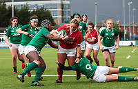 9nd February 2020; Energia Park, Dublin, Leinster, Ireland; International Womens Rugby, Six Nations, Ireland versus Wales; Kelsey Jones (Wales) drives in to the tackles of Linda Djougang and Kathryn Dane (Ireland)