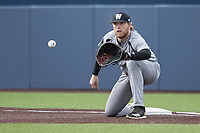Western Michigan Broncos first baseman Sean O'Keefe (40) waits for a throw against the Michigan Wolverines on March 18, 2019 in the NCAA baseball game at Ray Fisher Stadium in Ann Arbor, Michigan. Michigan defeated Western Michigan 12-5. (Andrew Woolley/Four Seam Images)