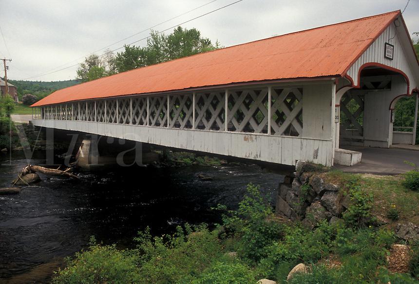 AJ4459, covered bridge, New Hampshire, The Ashuelot Covered Bridge with a red roof in Ashuelot in the state of New Hampshire.