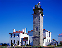 Rhode Island Sound, RI<br /> Beavertail Lighthouse (built n 1856 with granite tower) and keeper's house in Beavertail State Park, Jamestown, Conanicut Island