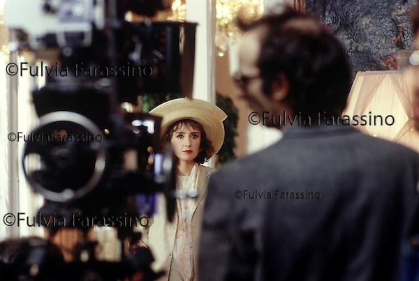Rimini 1991 , Roberto Benigni e Nicoletta Braschi sul set del film Johnny Stecchino, Rome,1991, Roberto Benigni and Nicoletta Braschi on Johnny Stecchino movie set