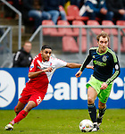 Nederland, Utrecht, 23 december 2012.Eredivisie .Seizoen 2012-2013.FC Utrecht-Ajax.Christian Eriksen (r.) van Ajax en Anouar Kali (l.) van FC Utrecht strijden om de bal.