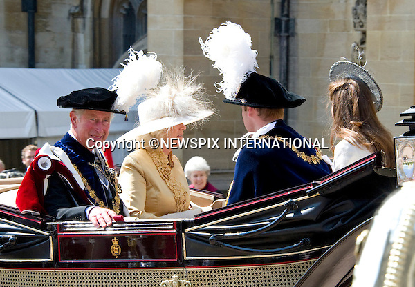 "PRINCE CHARLES, CAMILLA WITH WILLIAM AND KATE, GARTER SERVICE.Kate joined husband Prince William and other members of the Royal Family for the 1st Garter Service at Windsor Castle, Windsor_13/06/2011.Mandatory Photo Credit: ©NEWSPIX INTERNATIONAL..**ALL FEES PAYABLE TO: ""NEWSPIX INTERNATIONAL""**..PHOTO CREDIT MANDATORY!!: NEWSPIX INTERNATIONAL(Failure to credit will incur a surcharge of 100% of reproduction fees)..IMMEDIATE CONFIRMATION OF USAGE REQUIRED:.Newspix International, 31 Chinnery Hill, Bishop's Stortford, ENGLAND CM23 3PS.Tel:+441279 324672  ; Fax: +441279656877.Mobile:  0777568 1153.e-mail: info@newspixinternational.co.uk"