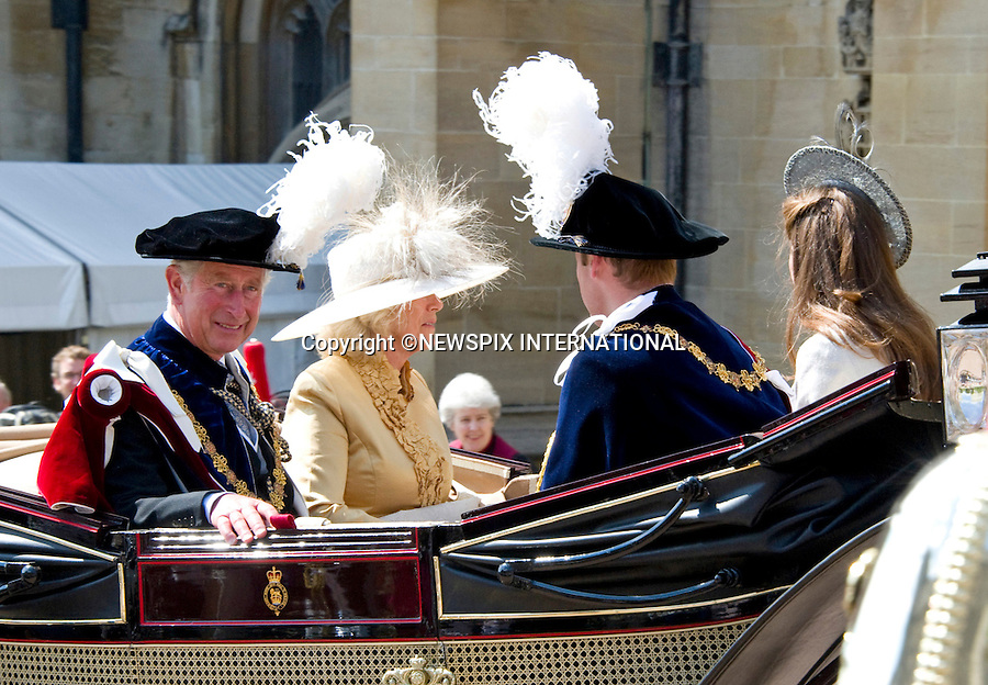 """PRINCE CHARLES, CAMILLA WITH WILLIAM AND KATE, GARTER SERVICE.Kate joined husband Prince William and other members of the Royal Family for the 1st Garter Service at Windsor Castle, Windsor_13/06/2011.Mandatory Photo Credit: ©NEWSPIX INTERNATIONAL..**ALL FEES PAYABLE TO: """"NEWSPIX INTERNATIONAL""""**..PHOTO CREDIT MANDATORY!!: NEWSPIX INTERNATIONAL(Failure to credit will incur a surcharge of 100% of reproduction fees)..IMMEDIATE CONFIRMATION OF USAGE REQUIRED:.Newspix International, 31 Chinnery Hill, Bishop's Stortford, ENGLAND CM23 3PS.Tel:+441279 324672  ; Fax: +441279656877.Mobile:  0777568 1153.e-mail: info@newspixinternational.co.uk"""