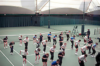 Ann Rundle takes a training session for ball boys and girls at Wimbledon, The All England Lawn Tennis Club (AELTC), London..
