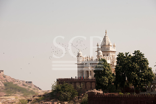 Jodhpur, India. White Marble mausoleum, Cenotaph, the Jaswant Thada in memory of the Maharaja, intricately carved from milky white marble