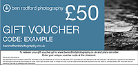 Gift Vouchers<br /> Available in multiples of £5, £10, £25 or £50.<br /> Click 'Add to Cart' to select your vouchers.<br /> You will receive a gift voucher with a unique discount code by email, usually within 24 hours, which could be given as a present to someone else. To redeem your gift voucher go to www.benrodfordphotography.co.uk and place an order. Enter your unique voucher code at the checkout.<br /> <br /> Terms and Conditions:<br /> Gift vouchers have no expiry date. Gift vouchers must be redeemed in full on a single order. Gift vouchers can be used as full or part payment. No balance is payable or transferable. Gift vouchers cannot be exchanged for cash. Each gift voucher code is unique and can only be used once. Multiple vouchers can be used on a single order. Gift vouchers do not discount the cost of postage and packaging.