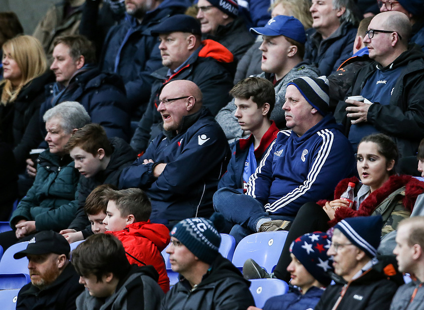 Bolton Wanderers' supporters during the match  <br /> <br /> Photographer Andrew Kearns/CameraSport<br /> <br /> The EFL Sky Bet Championship - Bolton Wanderers v Norwich City - Saturday 16th February 2019 - University of Bolton Stadium - Bolton<br /> <br /> World Copyright © 2019 CameraSport. All rights reserved. 43 Linden Ave. Countesthorpe. Leicester. England. LE8 5PG - Tel: +44 (0) 116 277 4147 - admin@camerasport.com - www.camerasport.com