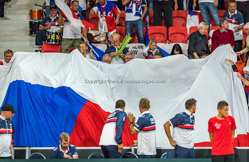 The Hague, The Netherlands, September 15, 2017,  Sportcampus , Davis Cup Netherlands - Chech Republic, Chech supporters unfolding a giant flag.<br /> Photo: Tennisimages/Henk Koster