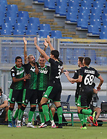 Football, Serie A: S.S. Lazio - Sassuolo, Olympic stadium, Rome, July 11, 2020. <br /> Sassuolo's Francesco Caputo (second from leftl) celebrates after scoring with his teammates during the Italian Serie A football match between S.S. Lazio and Sassuolo at Rome's Olympic stadium, Rome, on July 11, 2020. <br /> UPDATE IMAGES PRESS/Isabella Bonotto