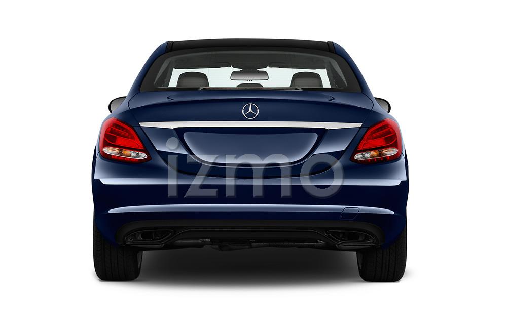 Straight rear view of 2017 Mercedes Benz C Class Base 4 Door Sedan stock images