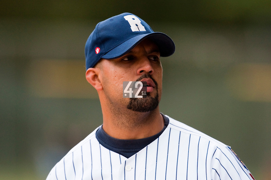 03 october 2009: Keino Perez of Rouen is seen as he pitches against Savigny during game 1 of the 2009 French Elite Finals won 6-5 by Rouen over Savigny in the 11th inning, at Stade Pierre Rolland stadium in Rouen, France.