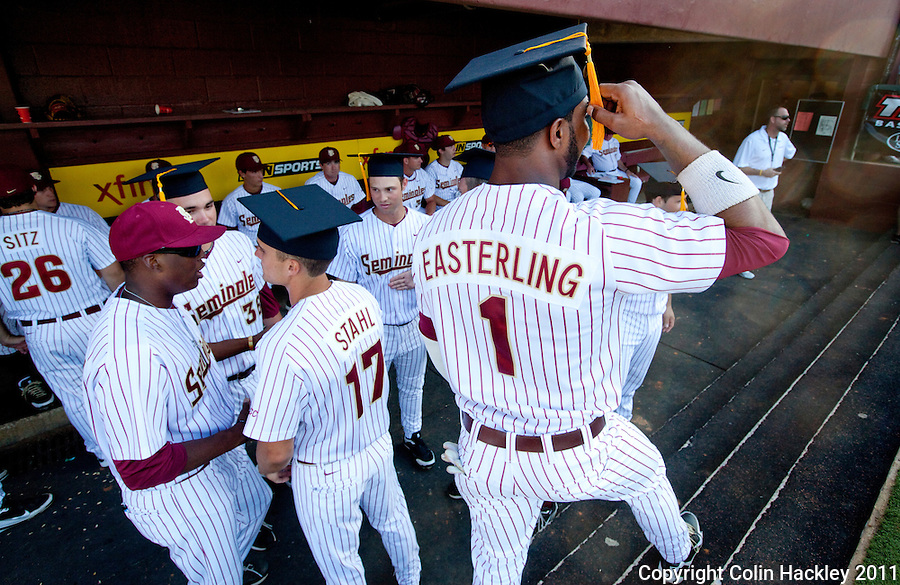 TALLAHASSEE, FL 5/7/11-FSU-UCFBASE11 CH-Florida State's Taiwan Easterling, right, gets his tassel ready to turn prior to a ceremony honoring the eight graduates on the team before the University of Central Florida game Saturday at Dick Howser Stadium in Tallahassee. The Seminoles lost to the Knights 10-14..COLIN HACKLEY PHOTO