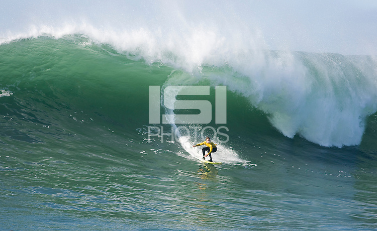 "Grant ""Twiggy"" Baker surfs during the final heat of the 2008 Mavericks Surf Contest in Half Moon Bay, Calif., Saturday, January 12, 2008."