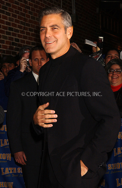 WWW.ACEPIXS.COM . . . . . ....November 28, 2006, New York City. ....George Clooney Stops by the 'Late Show with David Letterman'. ....Please byline: KRISTIN CALLAHAN - ACEPIXS.COM.. . . . . . ..Ace Pictures, Inc:  ..(212) 243-8787 or (646) 769 0430..e-mail: info@acepixs.com..web: http://www.acepixs.com