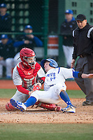 Cornell Big Red catcher Ellis Bitar (24) puts the tag on Zack Weigel (14) of the Seton Hall Pirates as he tries to score at The Ripken Experience on February 27, 2015 in Myrtle Beach, South Carolina.  The Pirates defeated the Big Red 3-0.  (Brian Westerholt/Four Seam Images)