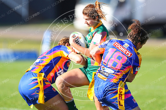 The Wyong Roos play Toukley Hawks in Round 7 of the Ladies League Tag Central Coast Rugby League Division at Morry Breen Oval on 22 May, 2016 in Kanwal, NSW Australia. (Photo by Paul Barkley/LookPro)