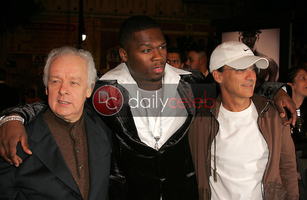Jim Sheridan with Curtis &quot;50 Cent&quot; Jackson and Jimmy Iovine<br />