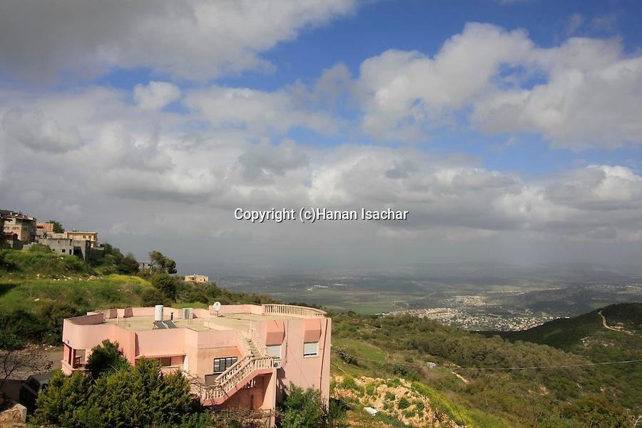 Israel, Mount Carmel. A view of Haifa Bay from Druze village Usfiya
