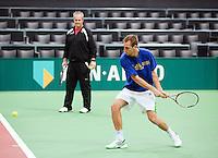05-02-11, Tennis, Netherlands, Rotterdam, ABNAMROWTT 2011, Thiemo de Bakker in de training met zijn trainer Huib Troost