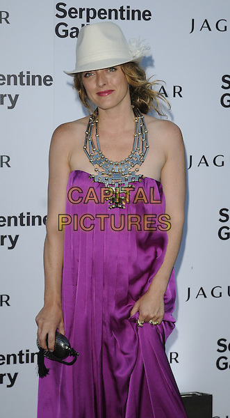 ALICE TEMPERLEY .At the Serpentine Gallery Summer Party, Serpentine Gallery, Hyde Park, London, England, UK, July 8th 2010..half length strapless pink purple magenta silk dress trilby hat fedora white necklace metal silver clutch bag.CAP/CAN.©Can Nguyen/Capital Pictures.