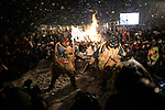OGA, JAPAN - FEBRUARY 10: Men dressed in straw clothes and orge masks as Namahage, or mountain demons, perform dances during the Namahage Sedo Festival at Shinzan Shrine on February 10, 2019 in Oga, Akita prefecture, Japan. Namahage visit each house to admonish sluggards to mend their ways, ward off disasters and offer blessings, looking for evil children, in the area on New Year's Eve. In the festival, which combines the local event of the ceremony of the shrine, visitors can experience these traditions and its folk culture. (Photo by Richard Atrero de Guzman/Aflo)
