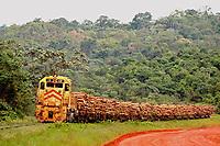 Transporte de eucalipto após corte para dar início ao processo industrial na fábrica da Jarí de papel e celulose  (grupo Orsa).<br />A fábrica construída em cima de uma balsa foi trazida por empurradores do Japão no final da década de 70 e instalada as margens do rio Jarí, fronteira do Pará com o Amapá.<br />Pelo porto construído ao lado da fábrica administrado pela Amazonlog é feito o escoamento da produção de papel e celulose. <br />Almeirim, Pará, Brasil.<br />Foto Paulo Santos/Interfoto<br />03/2005.Fábrica da Jarí de papel e celulose  (grupo Orsa).<br />A fábrica construída em cima de uma balsa foi trazida por empurradores do Japão no final da década de 70 e instalada as margens do rio Jarí, fronteira do Pará com o Amapá.<br />Pelo porto construído ao lado da fábrica administrado pela Amazonlog é feito o escoamento da produção de papel e celulose. <br />Almeirim, Pará, Brasil.<br />Foto Paulo Santos/Interfoto<br />03/2005.