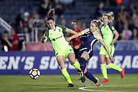 Cary, North Carolina  - Wednesday April 18, 2018: Morgan Andrews and McCall Zerboni during a regular season National Women's Soccer League (NWSL) match between the North Carolina Courage and the Seattle Reign FC at Sahlen's Stadium at WakeMed Soccer Park.