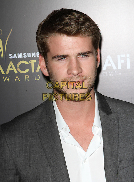 Liam Hemsworth.2012 Australian Academy Of Cinema And Television Arts Awards (AACTA) Held at Soho House, West Hollywood, California, USA, 27th January 2012..portrait headshot beard facial hair white grey gray.CAP/ADM/KB.©Kevan Brooks/AdMedia/Capital Pictures.