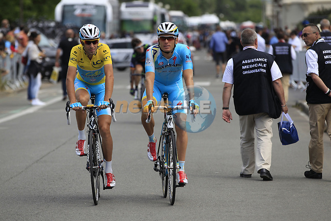 Yellow Jersey leader Vincenzo Nibali (ITA) Andriy Grivko (UKR) Astana in Le Touquet for the start of Stage 4 of the 2014 Tour de France running 163.5km from Le Touquet to Lille. 8th July 2014.<br /> Picture: Eoin Clarke www.newsfile.ie