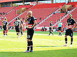 27.06.2020, Stadion an der Wuhlheide, Berlin, GER, DFL, 1.FBL, 1.FC UNION BERLIN  VS. Fortuna Duesseldorf , <br /> DFL  regulations prohibit any use of photographs as image sequences and/or quasi-video<br /> im Bild Rouwen Hennings (Fortuna Duesseldorf #28), Kenan Karaman (Fortuna Duesseldorf #11)<br /> <br /> <br />      <br /> Foto © nordphoto / Engler