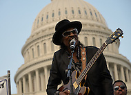 "June 9, 2011 (Washington, DC) The godfather of go-go, Chuck Brown, performed at the DC Vote rally on the west lawn of the U.S. Capitol.  Despite record-setting high temperatures, fans came out to hear the local legend.  The crowd, old and young, cheered as Chuck played his biggest hit, ""Bustin Loose"".  Most recently, Brown was nominated for a Grammy for Best R&B Performance By A Duo Or Group for his collaboration with Jill Scott and Marcus Miller entitled ""Love"".  (Photo: Don Baxter;Media Images International)"