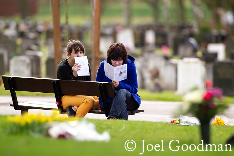 © Joel Goodman - 07973 332324 . 17/03/2012 . Staffordshire , UK . People sit outside the crematorium and listen to the service as it is relayed on loudspeaker . The funeral of former police officer David Rathband , at Stafford Crematorium . Rathband was found dead at his home in Blyth on 29th February 2012 . He was shot and blinded by killer Raoul Moat whilst he was on duty in the early hours of 4th July 2010 and went on to campaign for the Blue Lamp Foundation , which supports emergency staff injured in the line of duty , but he was reported to have never overcome the psychological impact of his injuries . Photo credit : Joel Goodman