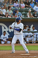 Ryan Scott (15)  of the Ogden Raptors at bat against the Orem Owlz in Pioneer League action at Lindquist Field on June 18, 2015 in Ogden, Utah. This was Opening Night play of the 2015 Pioneer League season.  (Stephen Smith/Four Seam Images)