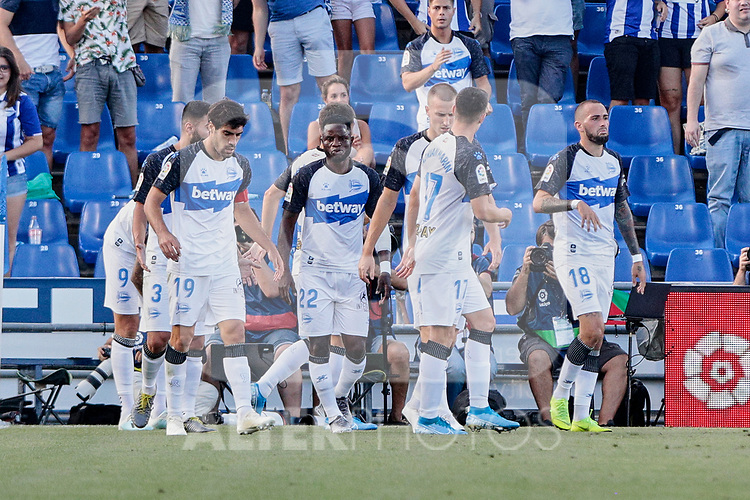 Players of Deportivo Alaves celebrate goal during La Liga match between Getafe CF and Deportivo Alaves at Colisseum Alfonso Perez in Getafe, Spain. August 31, 2019. (ALTERPHOTOS/A. Perez Meca)