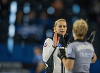 Glasgow. SCOTLAND. {L}, Victoria MOISEEVA, high fives, with, Galina ARSENKINA, during  the &quot;Round Robin&quot; Game.  Scotland vs Russia,  Le Gruy&egrave;re European Curling Championships. 2016 Venue, Braehead  Scotland<br /> Thursday  24/11/2016<br /> <br /> [Mandatory Credit; Peter Spurrier/Intersport-images]